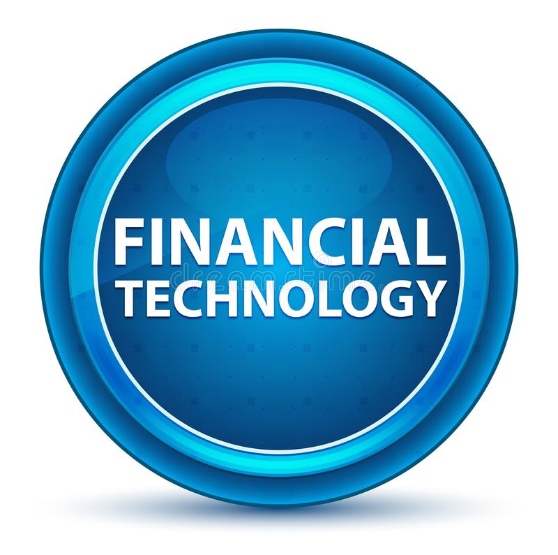 Botón redondo azul del globo del ojo financiero de la tecnología stock de ilustración