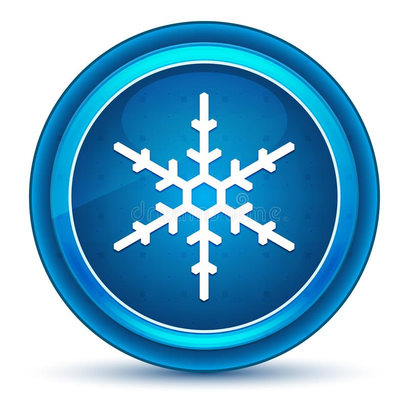 Botón redondo azul del globo del ojo del icono del copo de nieve libre illustration