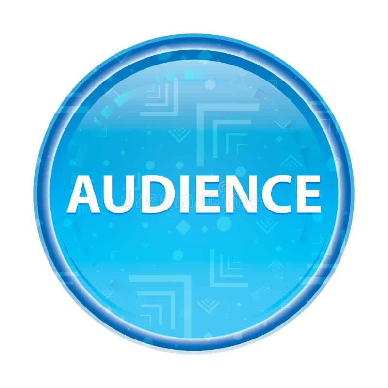 Botón redondo azul floral de la audiencia stock de ilustración