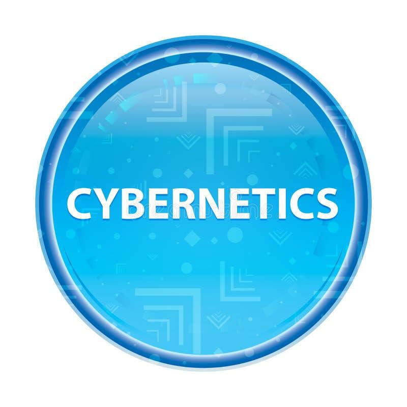 Botón redondo azul floral de la cibernética stock de ilustración