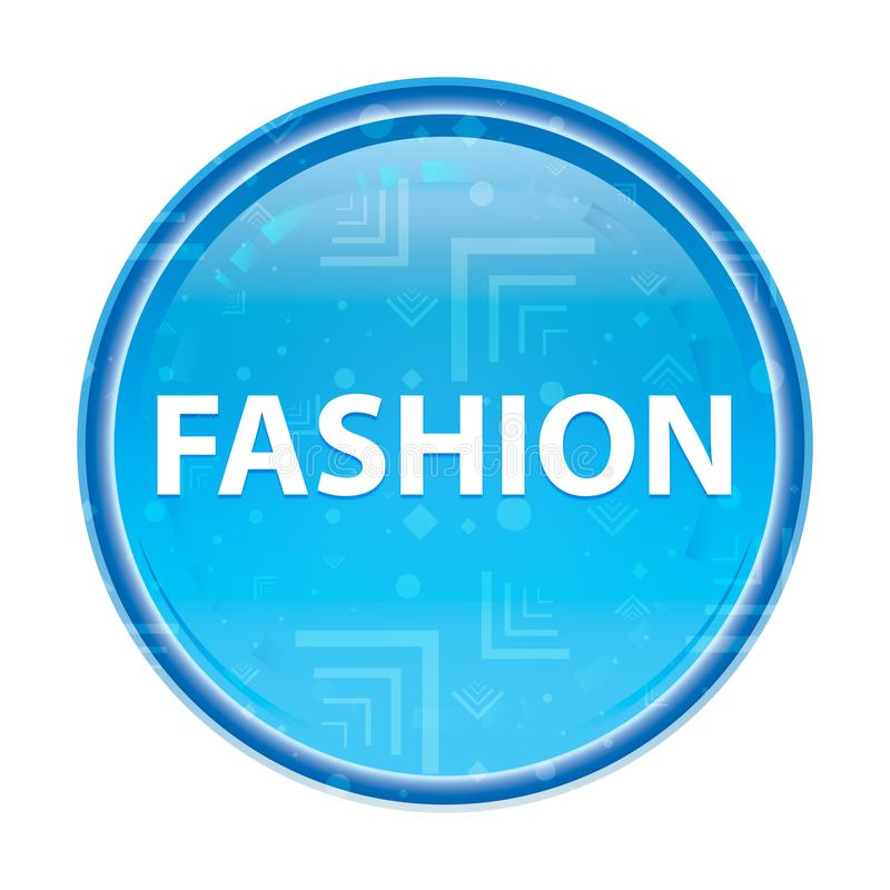Botón redondo azul floral de la moda ilustración del vector