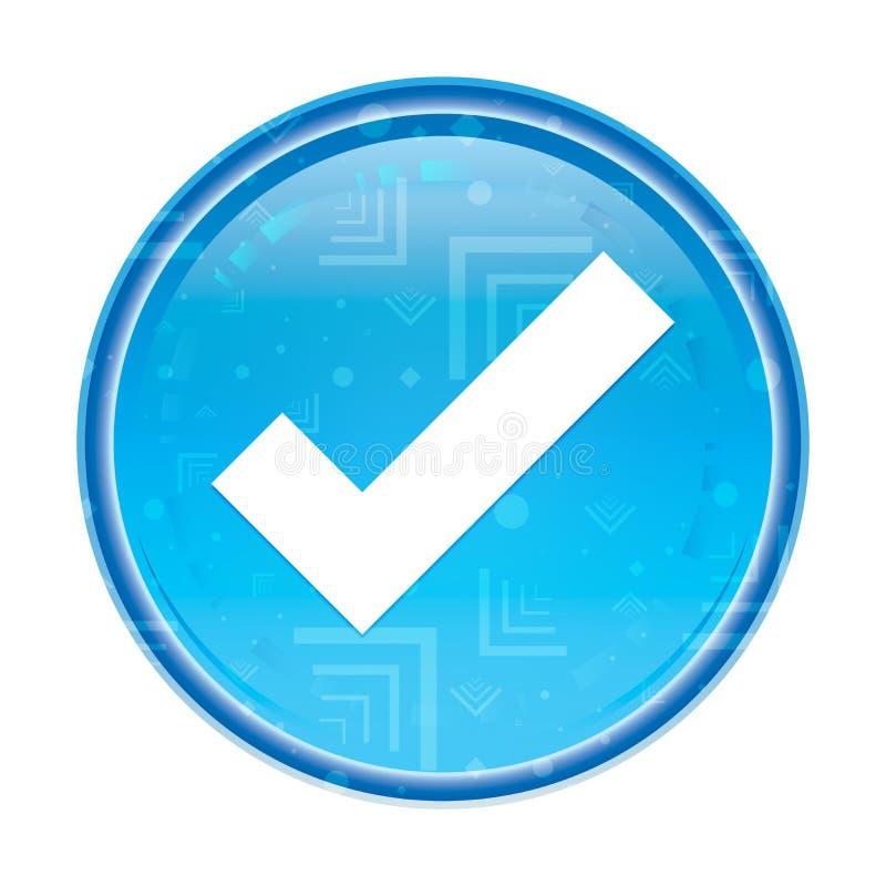 Botón redondo azul floral del icono de la marca de la señal ilustración del vector