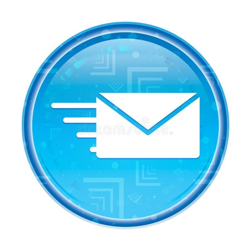 Botón redondo azul floral del icono de la opción del correo electrónico stock de ilustración