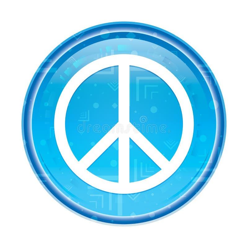 Botón redondo azul floral del icono del signo de la paz ilustración del vector