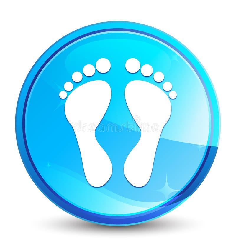 Botón redondo azul natural del chapoteo del icono de la huella ilustración del vector