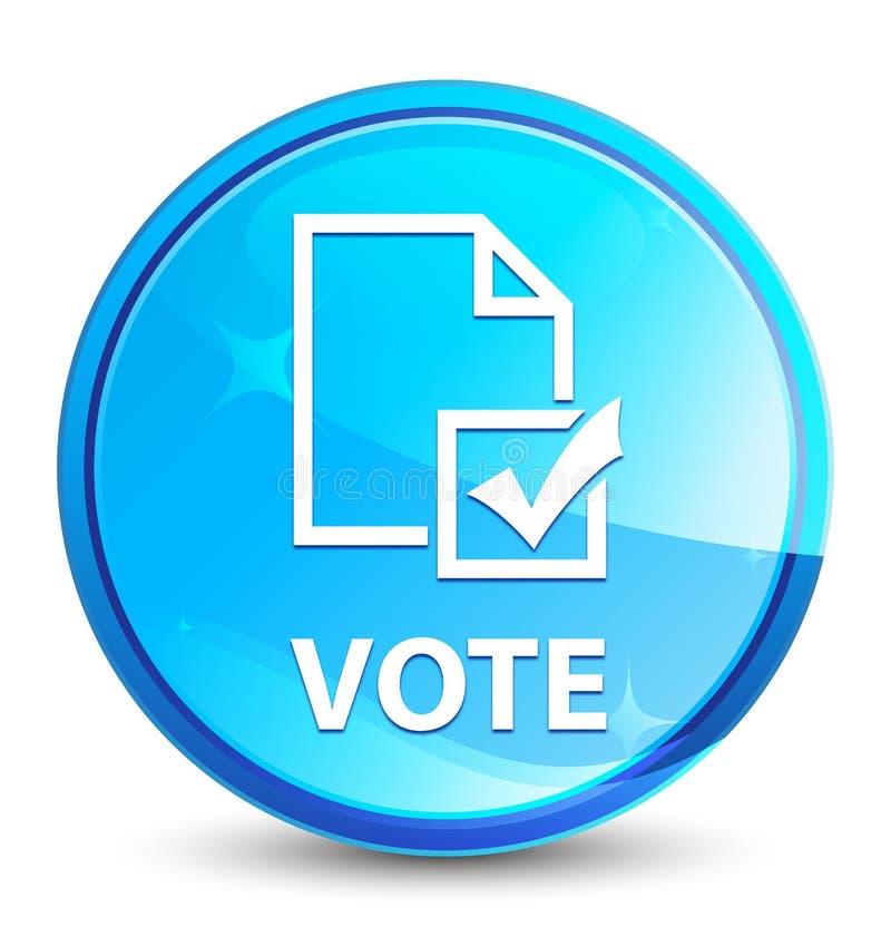 Botón redondo azul natural del chapoteo del voto (icono de la encuesta) stock de ilustración