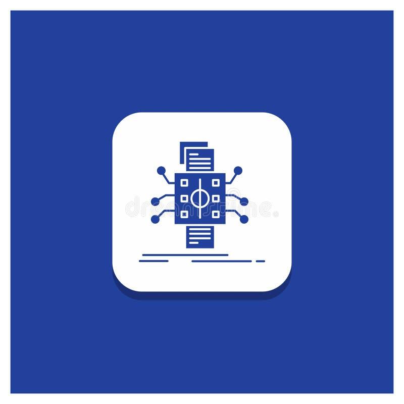 Botón redondo azul para el análisis, datos, dato, proceso, divulgando el icono del Glyph ilustración del vector