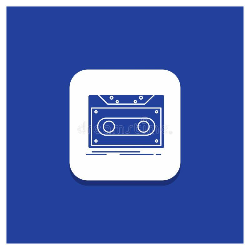 Botón redondo azul para el casete, versión parcial de programa, expediente, cinta, icono de registro del Glyph stock de ilustración