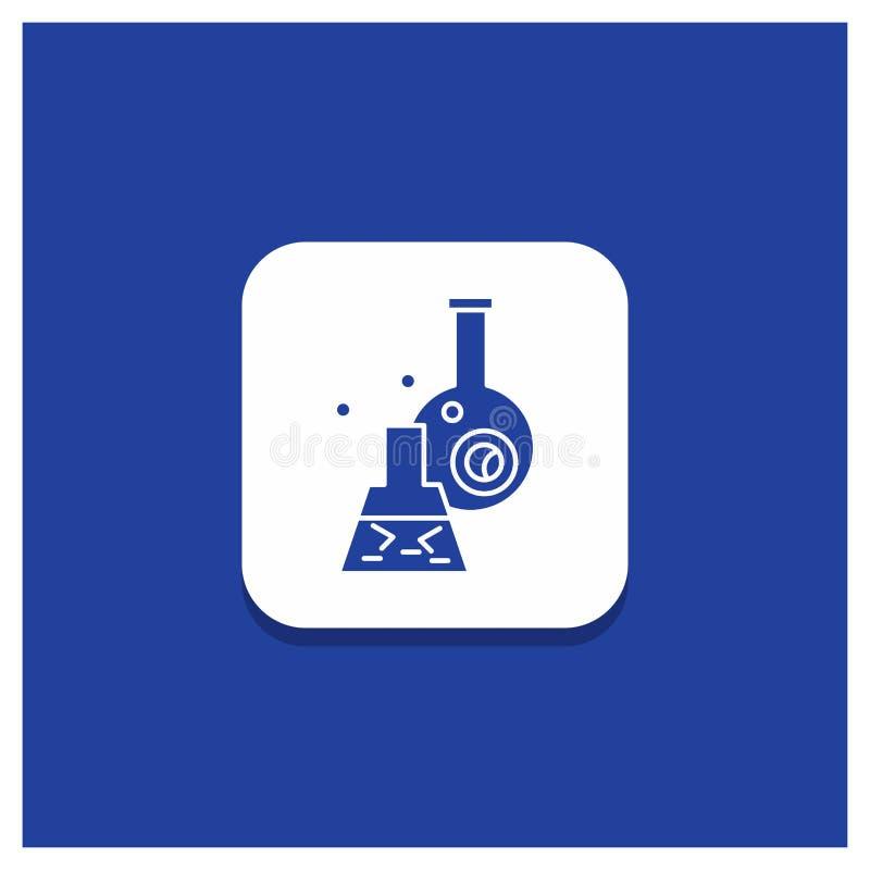 Botón redondo azul para el cubilete, laboratorio, prueba, tubo, icono científico del Glyph ilustración del vector