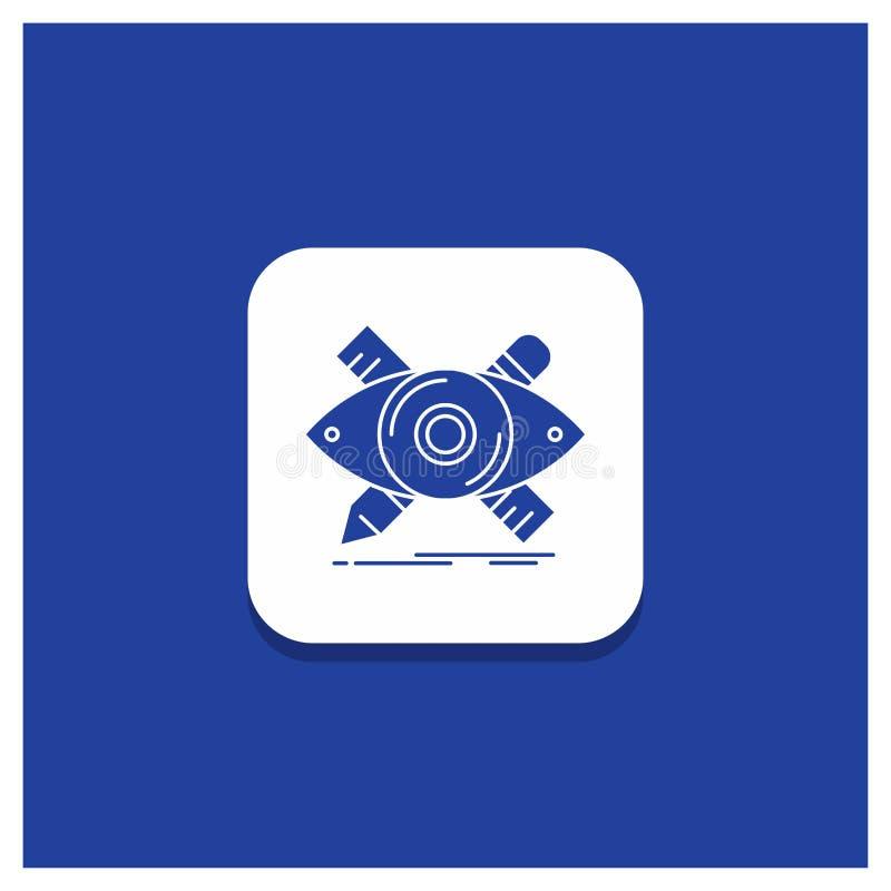 Botón redondo azul para el diseño, diseñador, ejemplo, bosquejo, icono del Glyph de las herramientas stock de ilustración