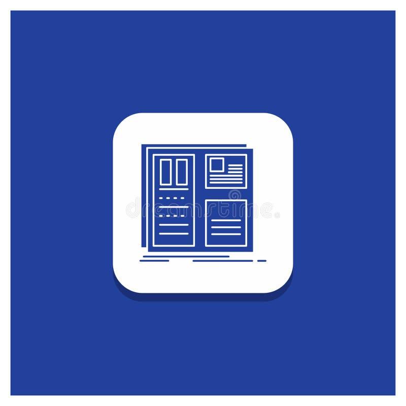 Botón redondo azul para el diseño, rejilla, interfaz, disposición, icono del Glyph del ui ilustración del vector