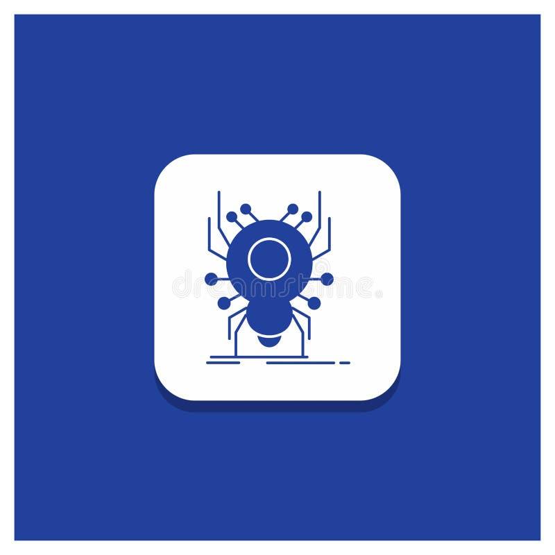 Botón redondo azul para el insecto, insecto, araña, virus, icono del Glyph del App ilustración del vector
