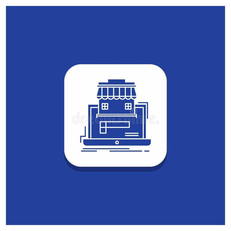 Botón redondo azul para el negocio, mercado, organización, datos, icono en línea del Glyph del mercado ilustración del vector