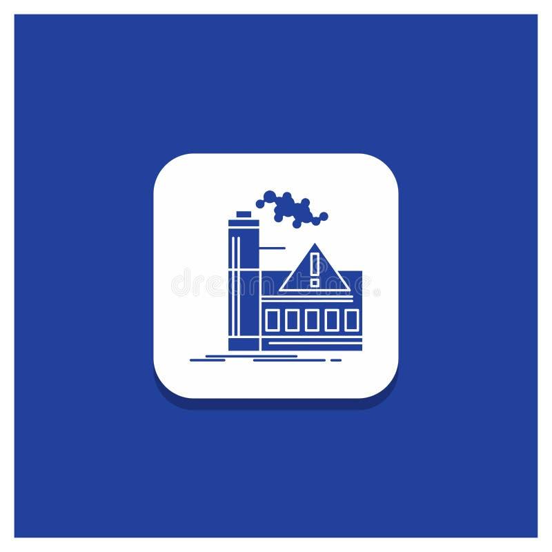 Botón redondo azul para la contaminación, fábrica, aire, alarma, icono del Glyph de la industria ilustración del vector