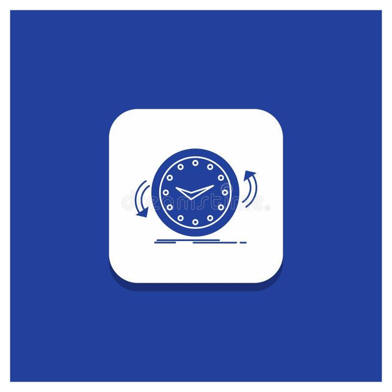 Botón redondo azul para la copia de seguridad, reloj, a la derecha, contrario, icono del Glyph del tiempo ilustración del vector