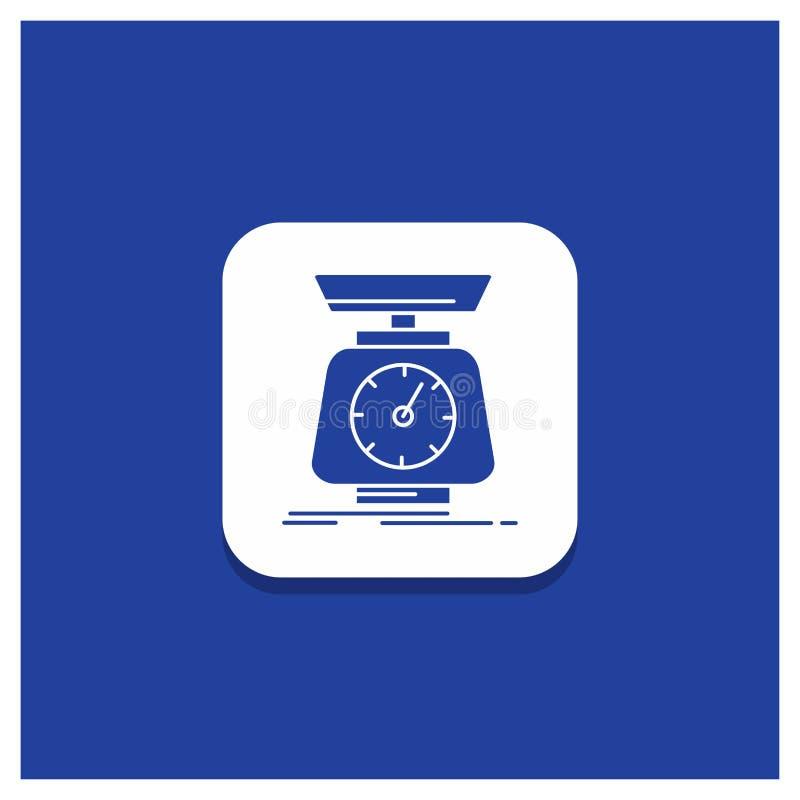 Botón redondo azul para la puesta en práctica, masa, escala, escalas, icono del Glyph del volumen stock de ilustración