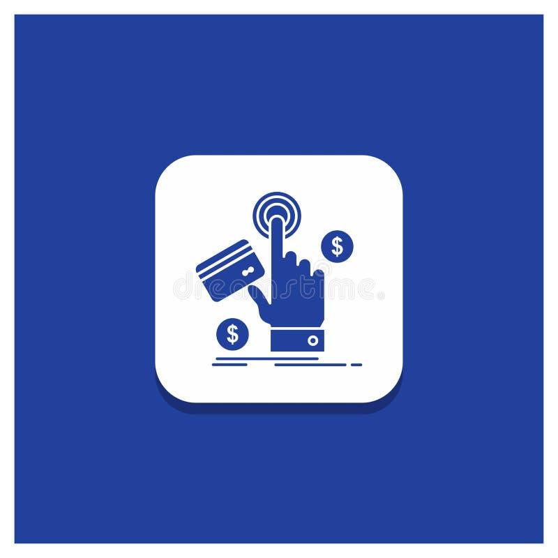 Botón redondo azul para ppc, tecleo, paga, pago, icono del Glyph de la web ilustración del vector