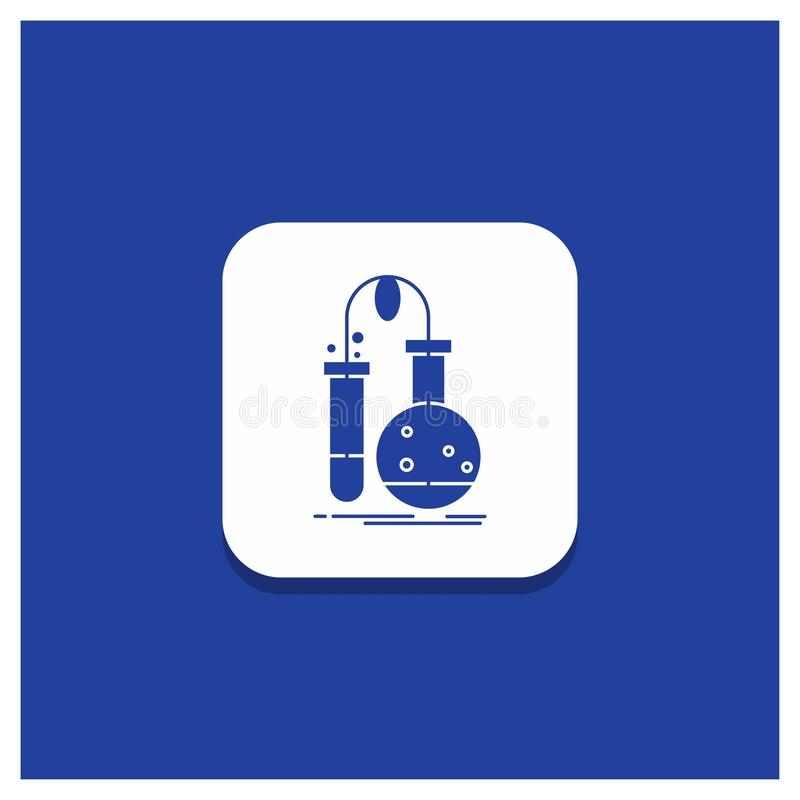 Botón redondo azul para probar, química, frasco, laboratorio, icono del Glyph de la ciencia stock de ilustración