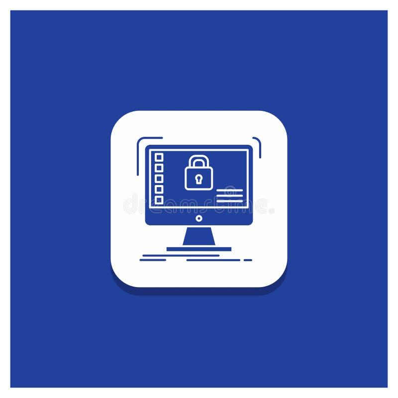 Botón redondo azul para seguro, protección, caja fuerte, sistema, icono del Glyph de los datos ilustración del vector