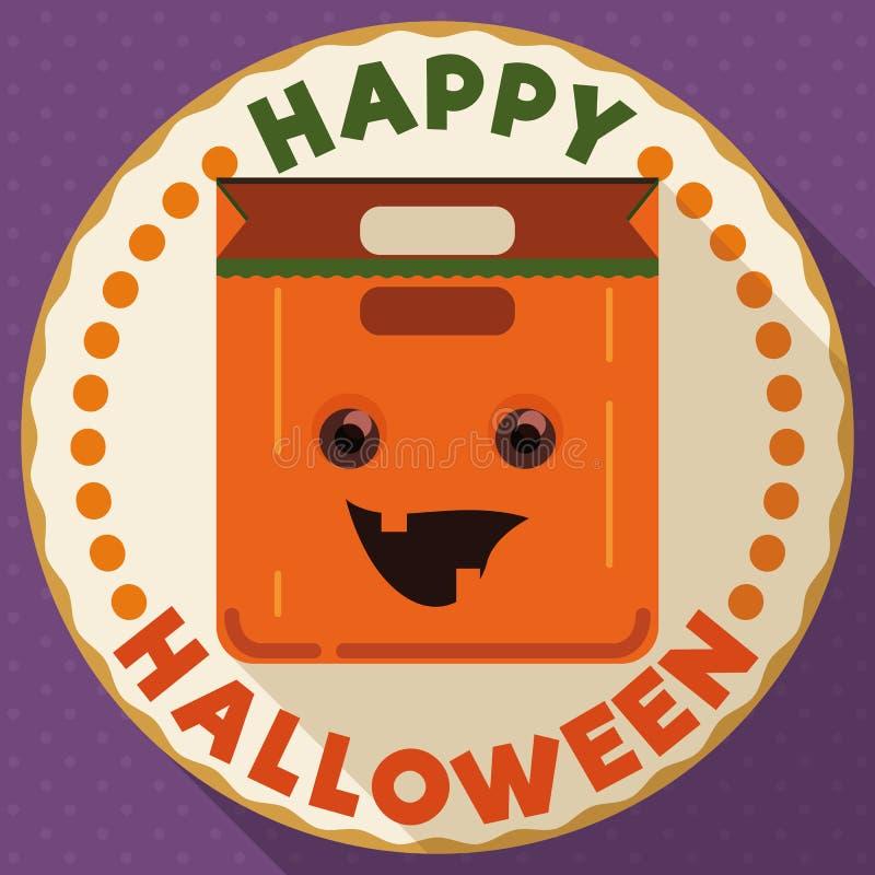 Botón redondo con el bolso de la calabaza del feliz Halloween, ejemplo del vector stock de ilustración