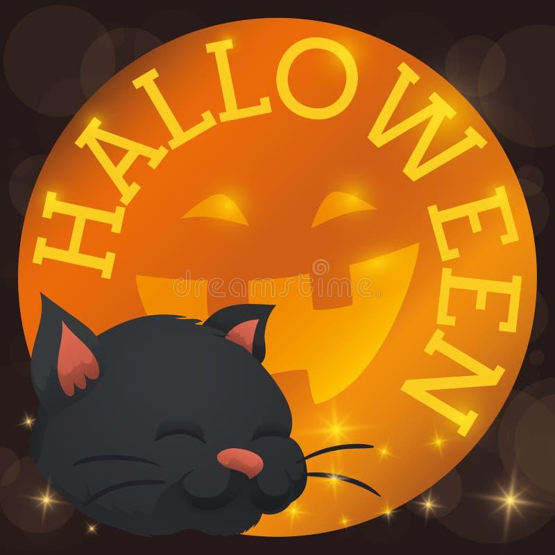 Botón redondo con la sonrisa feliz y Cat Celebrating Halloween, ejemplo de la calabaza del vector stock de ilustración