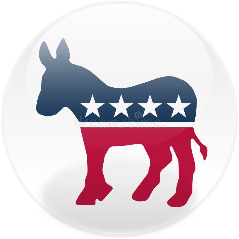 Botón redondo de Democrat ilustración del vector