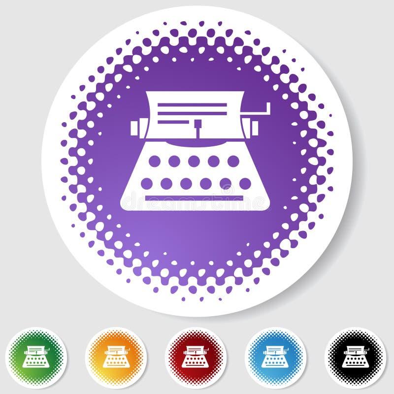 Botón redondo del tono medio fijado - máquina de escribir ilustración del vector