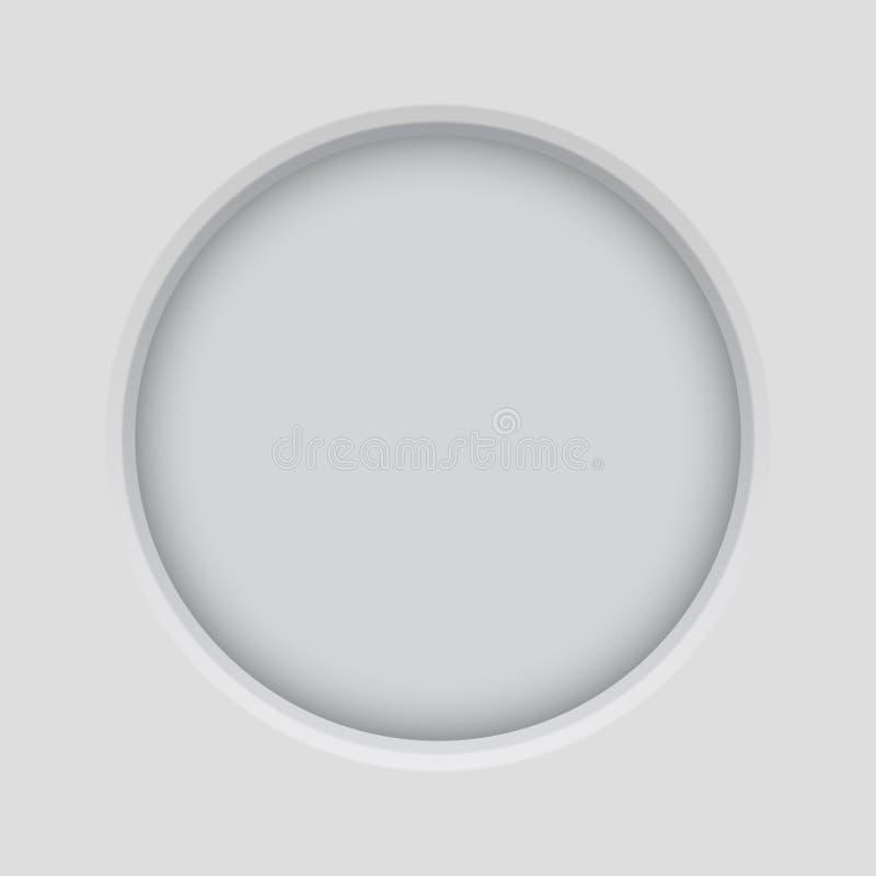 Botón redondo Botón enmarañado empujado en fondo gris claro stock de ilustración