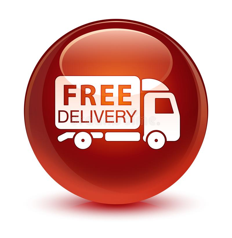 Botón redondo marrón vidrioso del icono libre del camión de reparto ilustración del vector