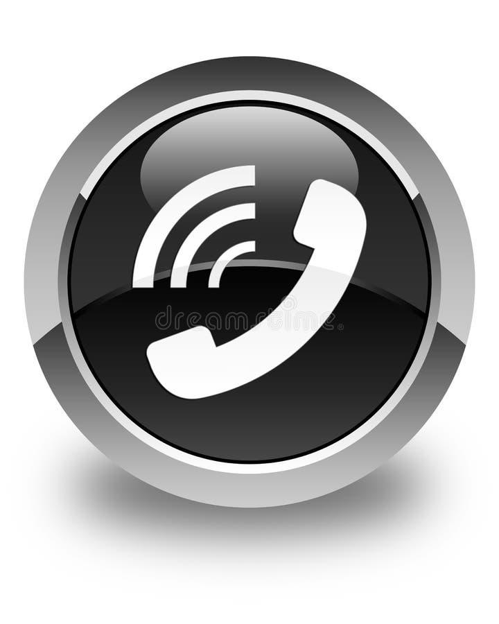 Botón redondo negro brillante de sonido del icono del teléfono ilustración del vector