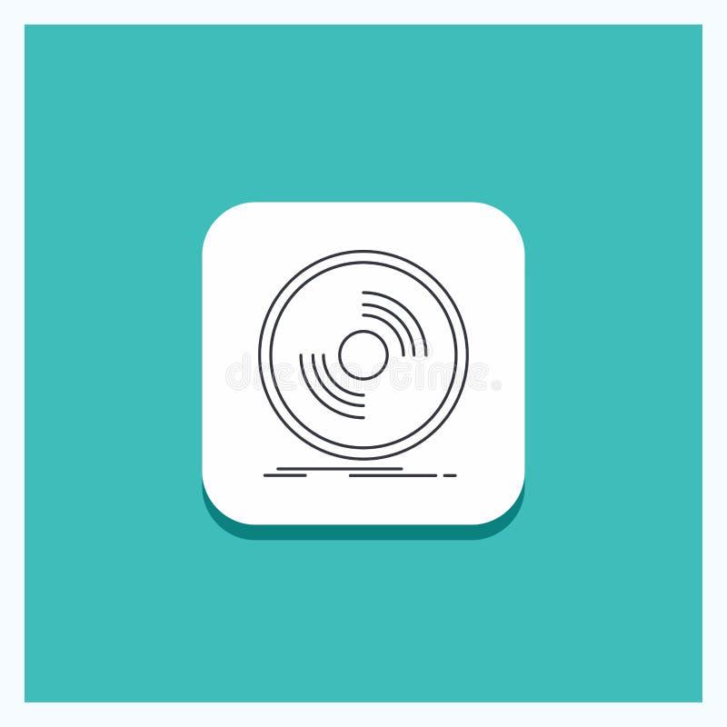 Botón redondo para el disco, DJ, fonógrafo, expediente, línea fondo del vinilo de la turquesa del icono libre illustration