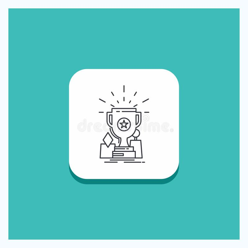 Botón redondo para el logro, premio, taza, premio, línea fondo del trofeo de la turquesa del icono libre illustration