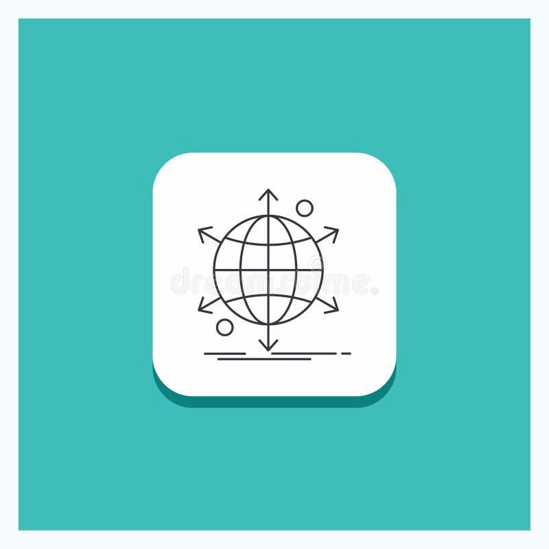 Botón redondo para el negocio, internacional, neto, red, línea fondo de la web de la turquesa del icono stock de ilustración