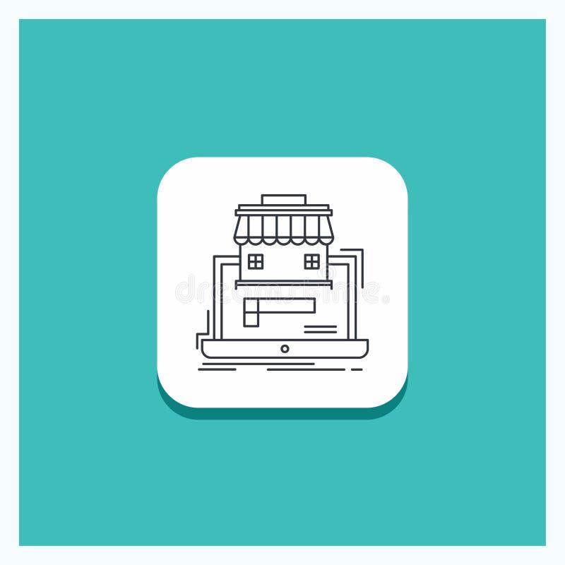 Botón redondo para el negocio, mercado, organización, datos, línea en línea fondo del mercado de la turquesa del icono ilustración del vector