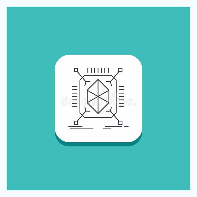 Botón redondo para el objeto, creación de un prototipo, rápida, estructura, 3d línea fondo de la turquesa del icono libre illustration
