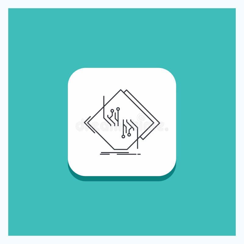 Botón redondo para el tablero, microprocesador, circuito, red, línea electrónica fondo de la turquesa del icono stock de ilustración
