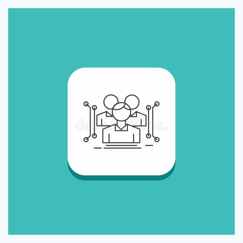 Botón redondo para la antropometría, cuerpo, datos, línea humana, pública fondo de la turquesa del icono stock de ilustración