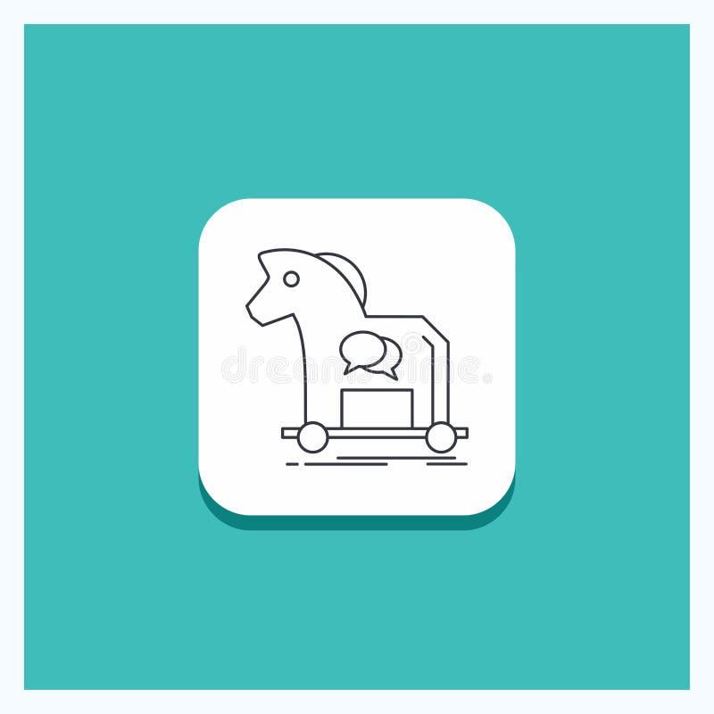 Botón redondo para la ciberdelincuencia, caballo, Internet, troyano, línea fondo del virus de la turquesa del icono stock de ilustración