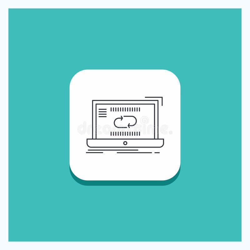 Botón redondo para la comunicación, conexión, vínculo, sincronización, línea fondo de la sincronización de la turquesa del icono libre illustration