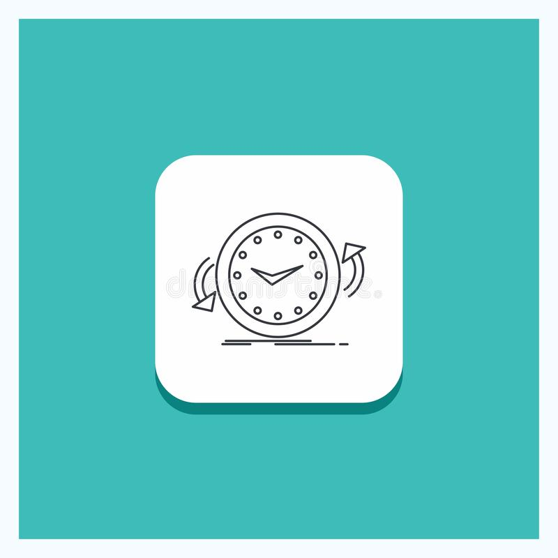 Botón redondo para la copia de seguridad, reloj, a la derecha, contrario, línea de tiempo fondo de la turquesa del icono stock de ilustración
