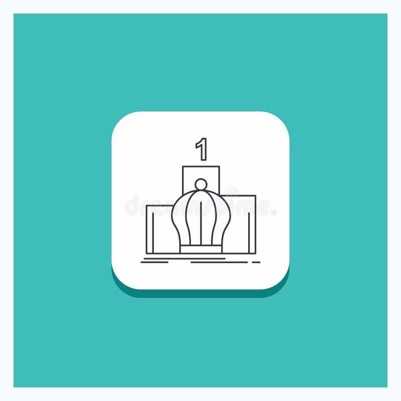 Botón redondo para la corona, rey, dirección, monarquía, línea real fondo de la turquesa del icono stock de ilustración