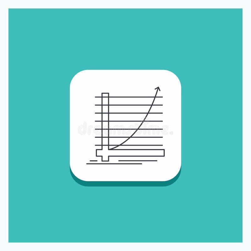Botón redondo para la flecha, carta, curva, experiencia, fondo de la turquesa del icono de la línea de meta ilustración del vector