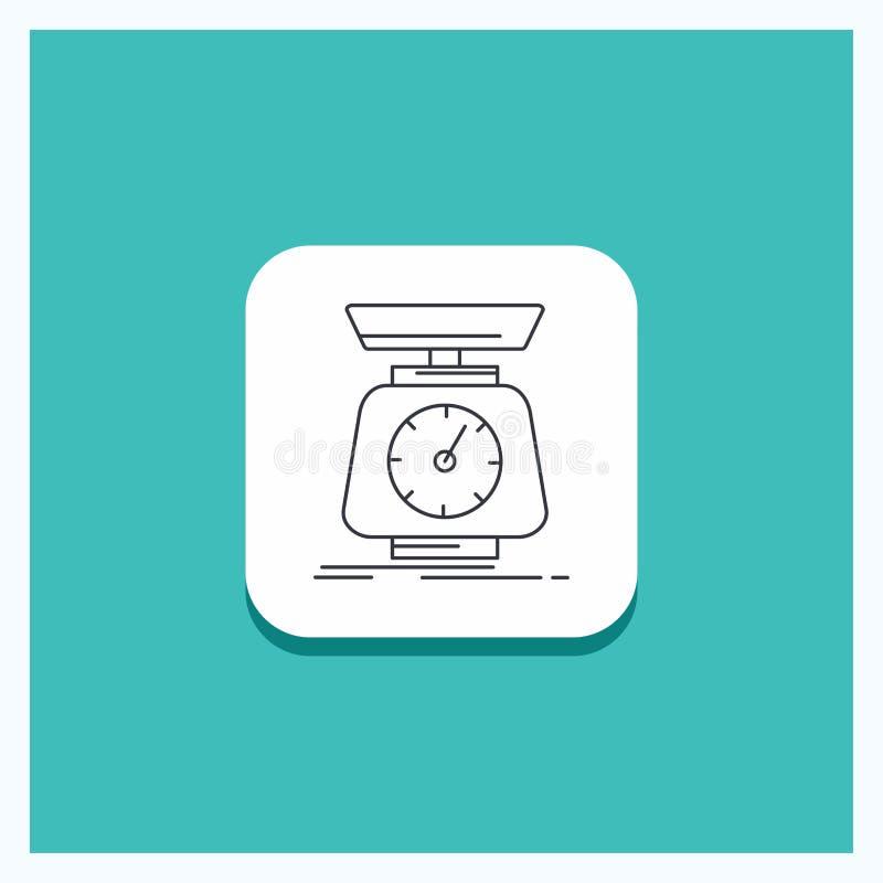 Botón redondo para la puesta en práctica, masa, escala, escalas, línea fondo del volumen de la turquesa del icono libre illustration