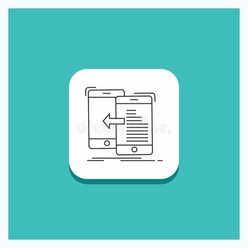 Botón redondo para los datos, transferencia, móvil, gestión, línea fondo del movimiento de la turquesa del icono stock de ilustración