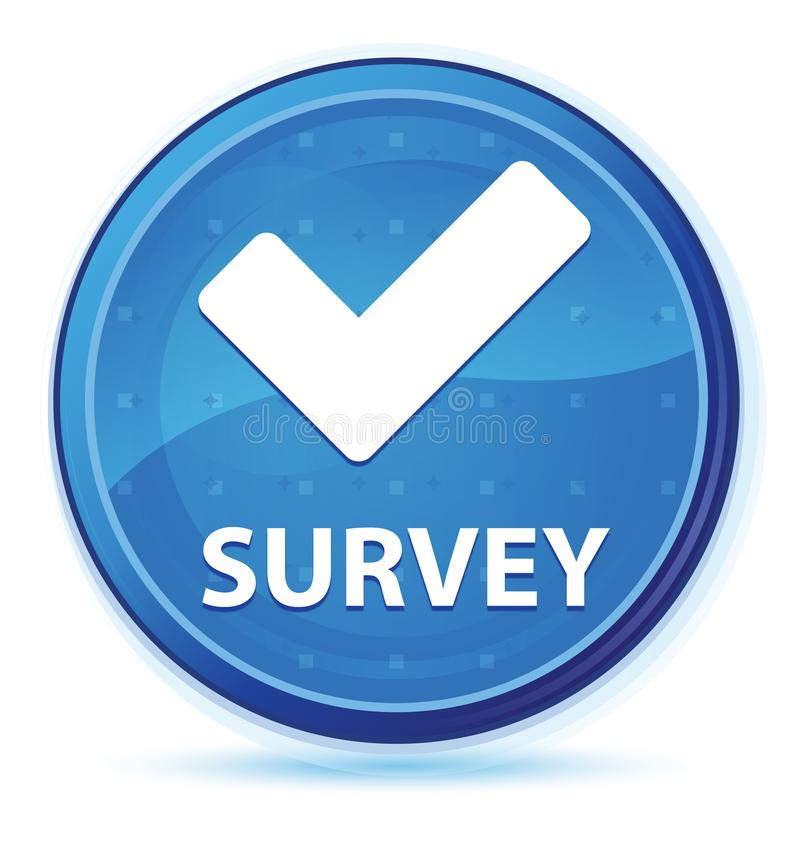 Botón redondo primero azul de medianoche de la encuesta (valide el icono) stock de ilustración