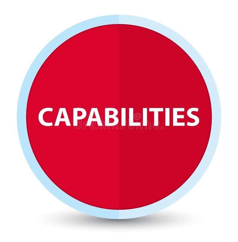 Botón redondo rojo primero plano de las capacidades stock de ilustración