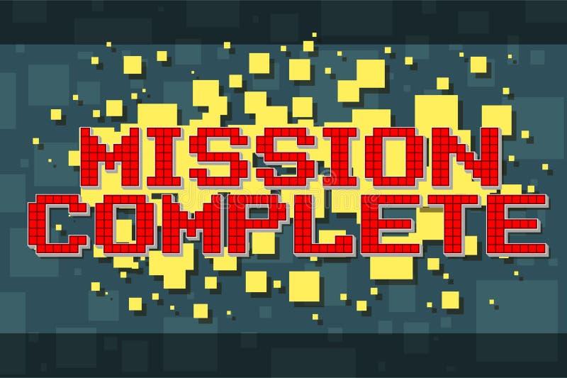 Botón retro de la misión del pixel rojo para los videojuegos stock de ilustración