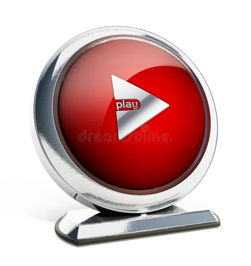 Botón rojo brillante con el botón de reproducción libre illustration