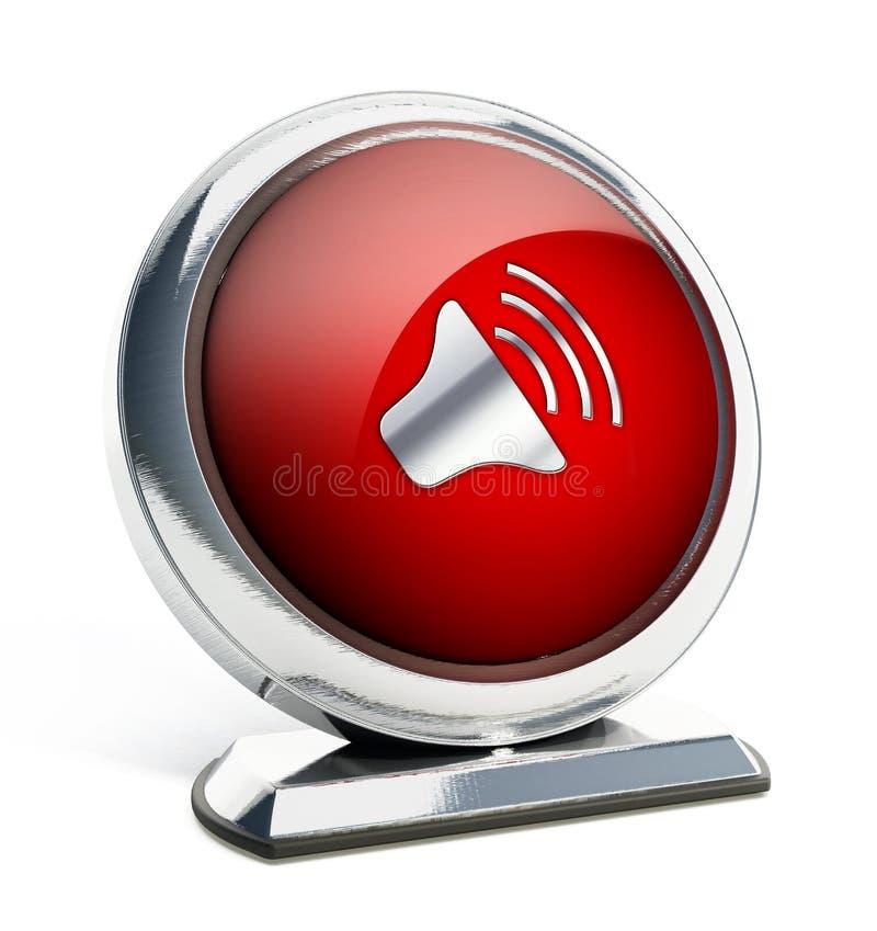 Botón rojo brillante con símbolo del altavoz stock de ilustración