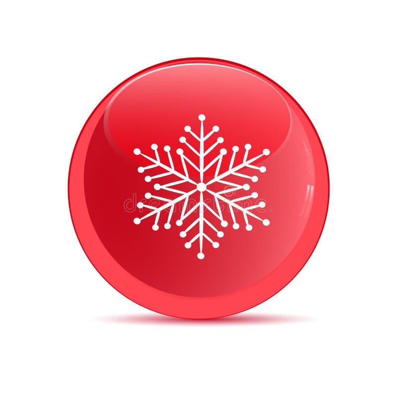 Botón rojo con la imagen de copos de nieve libre illustration